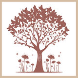 Tree. Illustration of silhouette of a tree with beautiful flowers Royalty Free Stock Photo