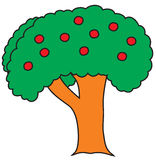 Tree. Cartoon sketch painted in child style Royalty Free Stock Images