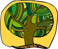 Tree. One tree with the big green crone on a yellow background Royalty Free Stock Image