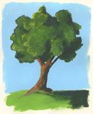 Tree. A painting of a single tree on grass in summer Stock Image