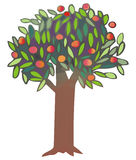 Tree. With apples and leaves, illustration Royalty Free Stock Photo