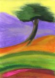 Tree. Painting of a single tree on colourful background Stock Photography