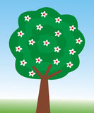 Tree. One tree with flowers Stock Illustration