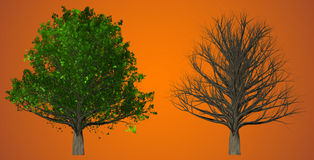 Tree  on abstract background, 3D Illustration Stock Photo