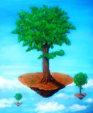 Tree of the Air island with sitting buddha. painting with graphic stylization. Stock Image