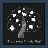 Tree from Alice in Wonderland. Tree from Alice Adventures in Wonderland Forest or Garden. Vector Element on Chalkboard Background. Illustration for Graphic Royalty Free Stock Images