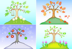 Tree of all seasons. Leaves with heart-shaped cutouts dapple a tree shown in a four panel vector design, perfect size for note cards or calendar, easy to change Royalty Free Stock Images