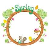 Tree With Animal On Circle Frame. Spring Season Lettering Frame Border Animal Nature Royalty Free Stock Photos