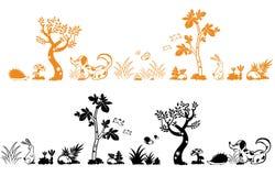 Tree and animals Royalty Free Stock Photos