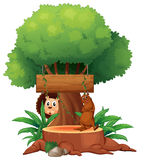 A tree with animals and an empty signboard Royalty Free Stock Image