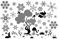 Tree with animals,flowers and snowflakes Royalty Free Stock Images