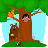 Tree with animals Royalty Free Stock Photography
