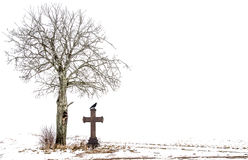 Tree ans cross with raven Stock Photo