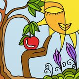 Tree and apple. Abstract illustration with tree and apple vector illustration