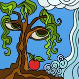 Tree and apple. Abstract illustration with tree and apple stock illustration