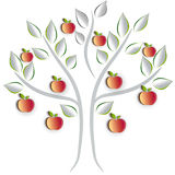 Tree. Apple tree on a white background, artistic cut out paper effect design stock illustration