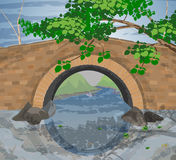 Tree and arch bridges scene. Beautiful tree and arch bridges scene river background stock illustration
