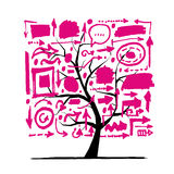 Tree with arrows, sketch for your design Royalty Free Stock Image