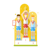 Tree athletes with medals standing on a pedestal. Royalty Free Stock Images
