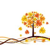 Tree autumn background, vector Royalty Free Stock Photos