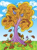 Tree in autumn cartoon illustration Royalty Free Stock Photo