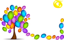 Tree background with balloons Stock Photo