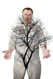 Tree on the background of the human body Royalty Free Stock Photo