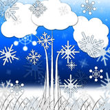 Tree Background Means Branches Leaves And Snowflakes Royalty Free Stock Photography