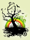 TREE BACKGROUND WITH RAINBOW Stock Photo
