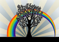 Tree background with rainbow. Illustrations Tree background with rainbow Royalty Free Stock Images