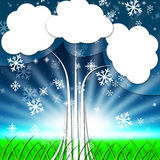 Tree Background Shows Snowflakes Snowing And Winter Stock Photography