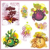 Tree Backgrounds Set. A set of tree backgrounds and abstract design elements Stock Photography