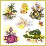 Tree Backgrounds Set. A set of tree backgrounds and abstract design elements Stock Images
