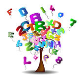 Tree with balloons in the shape of letters and num Stock Photography