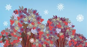 Tree banner with snow and leaves Royalty Free Stock Image