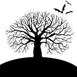 Tree and bat silhouettes Stock Photo