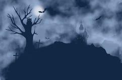 Tree, bats, owl, castle and moon on a foggy night Stock Photos