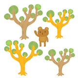 Tree and bear Cartoon Royalty Free Stock Image
