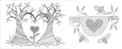 Tree and bee hive. Trees bend into heated shape and swee bee hive for card, invitation,design element,wallpaper sticker,coloring book,coloring page or colouring vector illustration