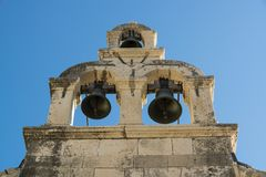 Tree bells in a bell tower Stock Photo