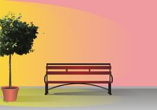 Tree and bench Stock Photo