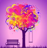 Tree with bench and swing. Stock Images