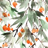 Tree and berries pattern on white background Stock Illustration