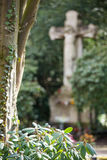 Grave Statue. A tree with a big statue of Jesus in the background Royalty Free Stock Photos