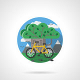 Tree and bike color detailed icon Royalty Free Stock Photo