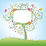 Tree and billboard. Green tree and blank billboard stock illustration