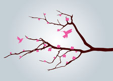 Tree and Bird. Vector silhouette of the bird on branch tree Stock Images