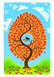 A tree with a bird on a blue background with added clouds. Stock Images