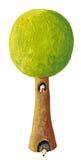Tree, bird and hedgehog Royalty Free Stock Image