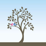 Tree with birds. Illustration of abstract design tree with two lovely birds.vector Stock Image